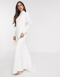 Белое свадебное платье с годе, декорированными манжетами и высоким воротником Y.A.S-Белый