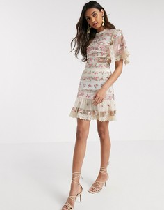 Платье мини цвета слоновой кости с цветочным принтом Needle & Thread-Белый