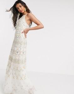 Платье макси цвета слоновой кости с вышивкой на бретелях Needle & Thread-Белый