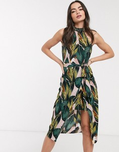 Двухслойное платье миди с тропическим принтом AX Paris-Мульти