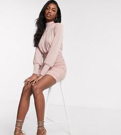 Эксклюзивное розовое платье мини с присборенной юбкой John Zack Tall-Розовый