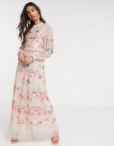 Розовое платье макси с цветочной аппликацией Needle & Thread-Розовый