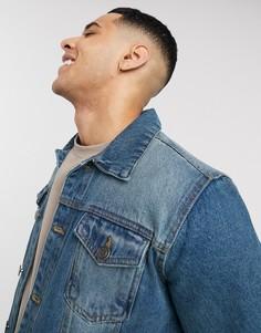 Синяя джинсовая куртка узкого кроя Brave Soul-Синий