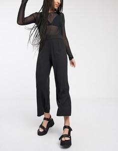 Широкие укороченные брюки в рубчик черного цвета Monki-Черный