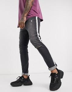 Синие джинсы скинни с рваной отделкой и полосками Religion-Синий