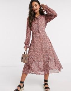 Розовое платье из шифона с цветочным принтом и объемными рукавами New Look-Розовый
