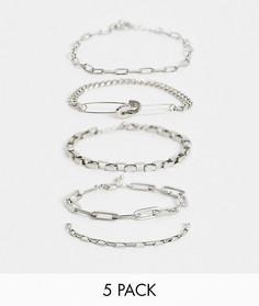 Набор браслетов-цепочек ASOS DESIGN-Серебряный