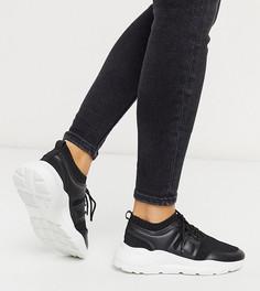 Черные кроссовки с трикотажным верхом для широкой стопы ASOS DESIGN-Черный