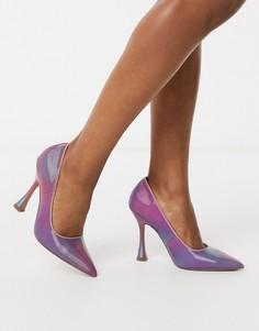Туфли-лодочки с острым носком с голографическим эффектом ASOS DESIGN-Мульти