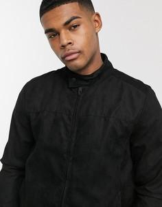 Байкерская куртка из искусственной замши Brave Soul-Черный