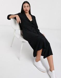 Черное платье-рубашка миди с рукавами 3/4 Selected-Черный