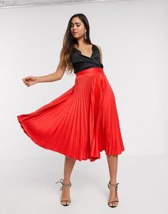 Красная плиссированная юбка Closet London-Красный