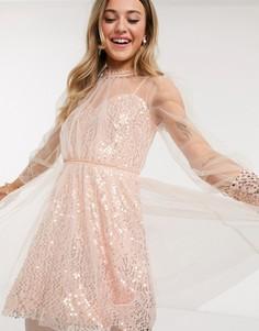 Приталенное платье мини с пайетками цвета розового золота Forever U-Золотистый