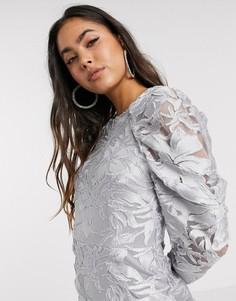 Платье мини с длинными рукавами ASOS DESIGN-Серебряный