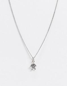 Серебристое ожерелье с черепом ASOS DESIGN-Серебряный