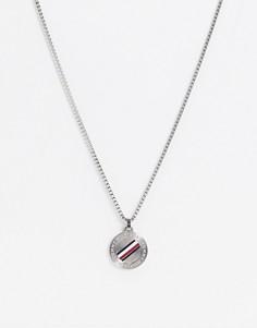 Серебристое ожерелье с круглым армейским жетоном Tommy Hilfiger-Серебряный