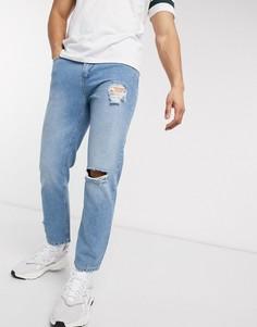 Синие укороченные джинсы со рваными коленями Religion-Синий