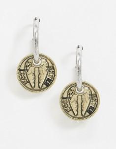 Серьги-кольца с подвесками-монетами Icon Brand-Мульти