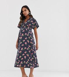 Платье миди с цветочным принтом и рукавами-оборками Queen Bee Maternity-Мульти