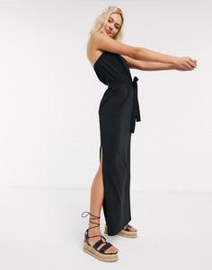 Черное платье-бандо макси с поясом ASOS DESIGN-Черный