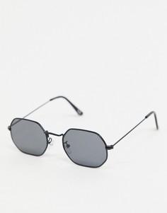 Солнцезащитные очки в черной металлической оправе ASOS DESIGN-Черный