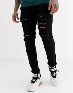 Черные узкие джинсы с рваной отделкой Liquor N Poker-Черный цвет