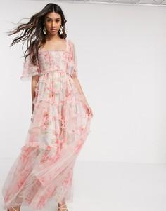 Свободное платье макси с принтом роз Needle & Thread-Мульти