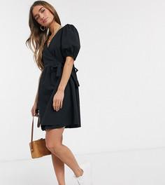 Черное платье мини из поплина с запахом New Look Petite-Черный