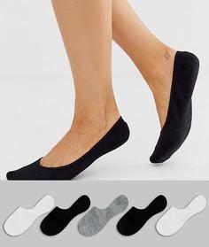 Набор из 5 пар невидимых носков с нескользящей лентой (черные/ белые/ серые) ASOS DESIGN-Мульти