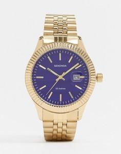 Золотистые наручные часы с синим циферблатом Sekonda эксклюзивно для ASOS-Золотой
