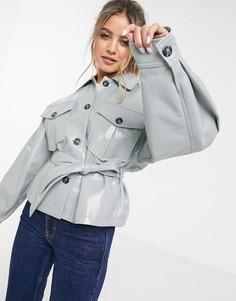 Голубая виниловая куртка с поясом ASOS DESIGN-Синий