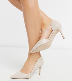 Черные остроносые туфли на каблуке для широкой стопы Miss KG-Бежевый