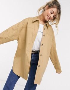 Светло-бежевая куртка-рубашка в стиле oversized из хлопка ASOS DESIGN-Бежевый