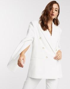 Фактурный пиджак с разрезами на рукавах ASOS DESIGN-Белый