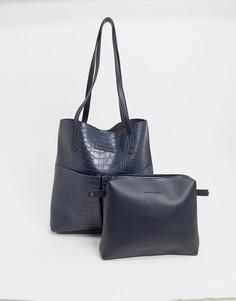 Темно-синяя сумка-тоут из искусственной крокодиловой кожи с карманами Claudia Canova-Темно-синий