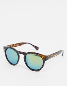 Круглые солнцезащитные очки с зеркальными стеклами Selected Homme-Коричневый