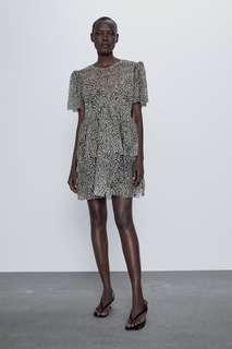 Платье из прозрачной ткани с леопардовым  принтом Zara