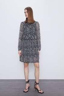 Платье из прозрачной ткани с принтом Zara