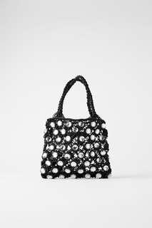 Миниатюрная сумка-мешок со стразами Zara