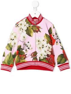 Dolce & Gabbana Kids куртка-бомбер с цветочным принтом