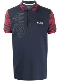 BOSS рубашка-поло с отделкой в полоску