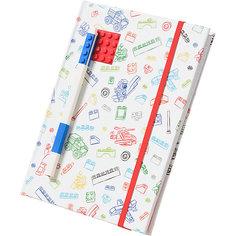 Книга для записей (96 листов, линейка) с синей гелевой ручкой LEGO, цвет: красный, белый