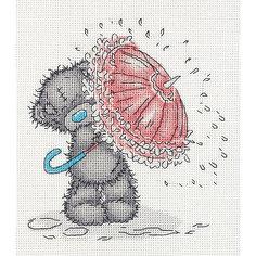 """Набор для вышивания мулине Klart """"Tatty Teddy с зонтиком"""", 17,5х19,5 см"""