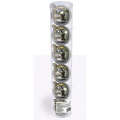 Набор елочных шаров B&H 6 шт, 6 см., серебряные BH