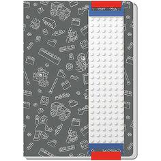 Записная книжка, 96 листов, линейка, с закладкой, цвет: серый, LEGO