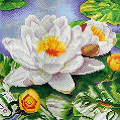 Мозаичная картина Белоснежка Нимфея озерная, 30х30 см