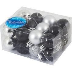 Набор елочных шаров Волшебная страна, черные/серебрянные
