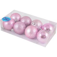 Набор елочных шаров Magic Land розовый, 8 штук Волшебная страна