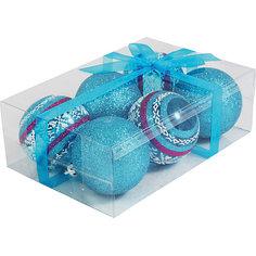 Набор елочных шаров Magic Land 6 шт, 6 см (синие) Волшебная страна