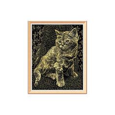 """Гравюра с эффектом золота """"Котёнок"""" Лори"""